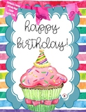 Happy Birthday Watercolor-Theme Posters, Note Cards, Homew