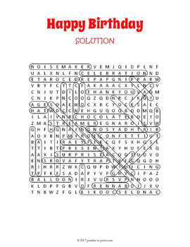 Happy Birthday Word Search Puzzle