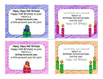 Happy Birthday and Happy Half Birthday Homework Passes (FREEBIE)