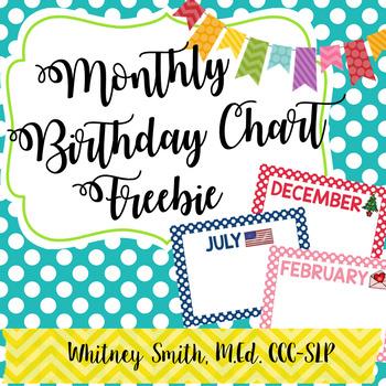 Monthly Birthday Charts