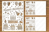 Happy Birthday card SVG files for Silhouette Cameo and Cricut.