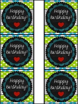 Happy Birthday cards/pencil toppers! Blue, Lime Green, and Gray/Charcoal theme!