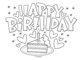 Happy Birthday coloring page by Mrs Arnolds Art Room | TpT