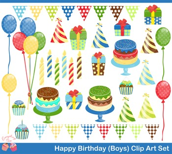 Happy Birthday for Boys Clipart Set