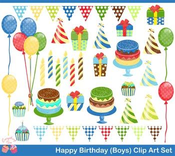 Happy Birthday for Boys Clipart Set