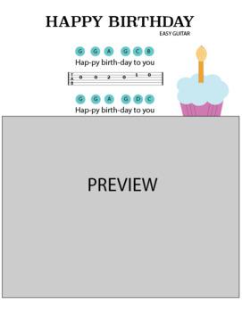 Happy Birthday for Easy Guitar