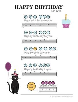 Happy Birthday - Sheet Music - Easy Guitar - Melody