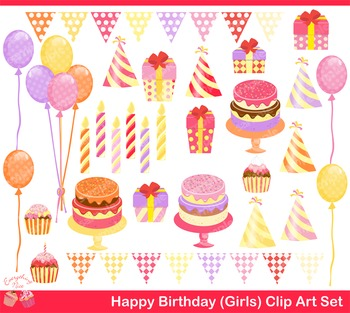 Happy Birthday for Girls Clipart Set