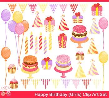 Happy Birthday for Girls Clipart Set