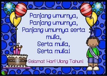 Happy Birthday song in bahasa Indonesia ~ LOTE  chart Indonesian PANJANG UMURNYA