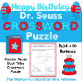Happy Birthday to You, Dr. Seuss Inspired Crossword Puzzle - Book Titles