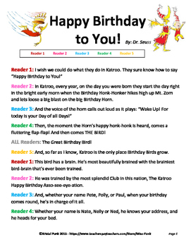 Happy Birthday to You  Readers Theater