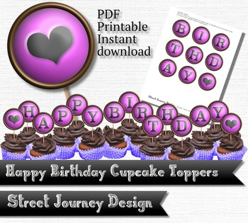 Happy Birthday with Heart Party Printable PDF Cupcake Toppers Party
