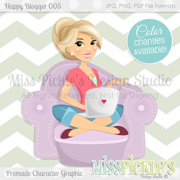Happy Blogger 005, Teacher Avatar- Commercial Use Character Graphic