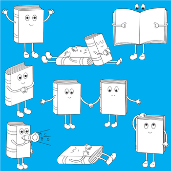 Happy Books 1 - Clip Art Set - PNG files