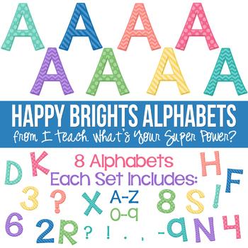 Happy Brights Set of 8 Alphas