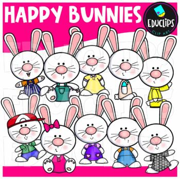 Happy Bunnies Clip Art Bundle