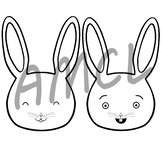 Happy Bunny Illustrations - Black and White