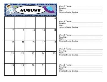 Space Theme  Calendar 2017-2018 Communication Folder