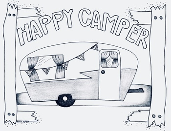 Happy Camper Camp Theme Coloring Page Camping Fall By Miss Jenny