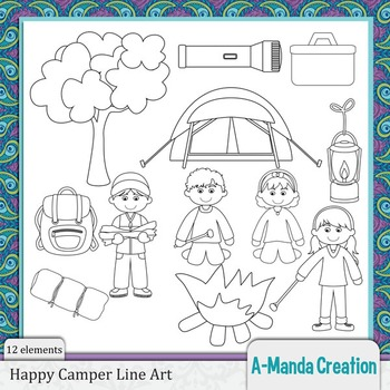 Happy Camper Camping themed Line Art and Digital Stamps
