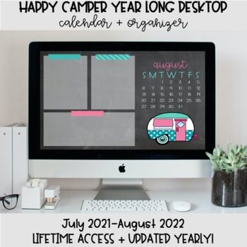 Happy Camper Desktop Organization Wallpaper + Calendar