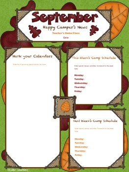 Happy Camper Editable Newsletter Templates for September