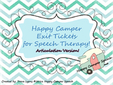 Happy Camper Exit Tickets for Speech Therapy!