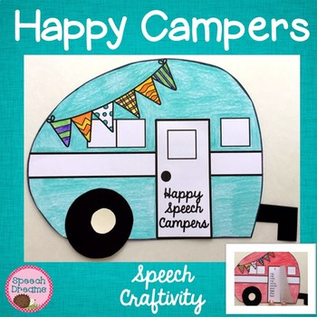 Happy Camper Speech Therapy Cut and Paste Craft Activity