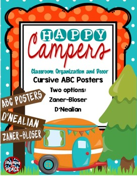 Camping Classroom Theme Cursive ABC Posters *D'Nealian and Zaner-Bloser Style*