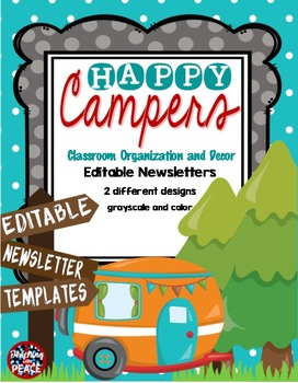 Camping Classroom Theme Editable Newsletter Templates TpT - Two page newsletter template