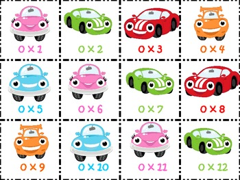 Happy Cars Multiplication Game Board