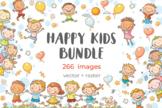 Happy Cartoon Kids Bundle, children doodle, kids children clipart, clipart comme