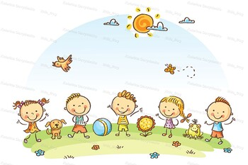 Happy Cartoon Kids Outdoors on a Green Meadow