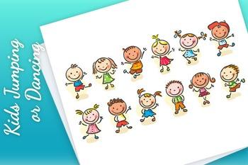 Happy Cartoon Sketchy Kids Jumping or Dancing