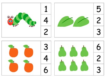 Hungry Happy Caterpillar Count & Clip 1-20