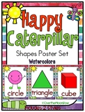Happy Caterpillar | Watercolors | Shapes Poster Set