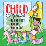 "Happy Children! Clip Art Alphabet, 88 PNGs, 3.5"" 300 DPI  Vector and PNG"