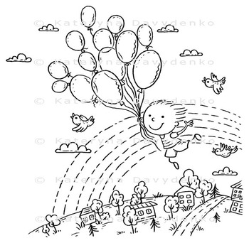 Happy Child Flying with the Balloons