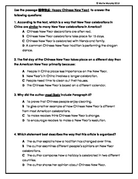 Happy Chinese New Year! Common Core-Aligned Test Prep Questions