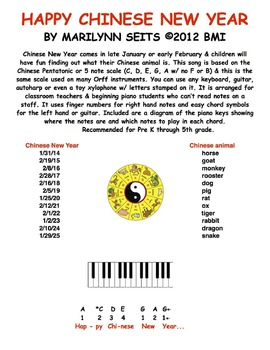Happy Chinese New Year - Easy notation children's song...