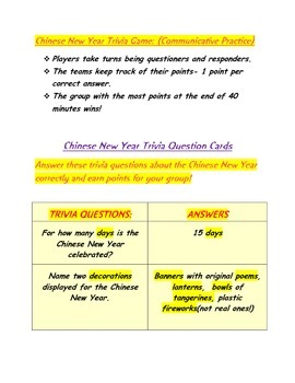 Happy Chinese New Year! Trivia Game to Learn Plural Forms!