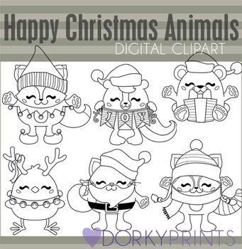 Happy Christmas Animals Black Line Clip Art