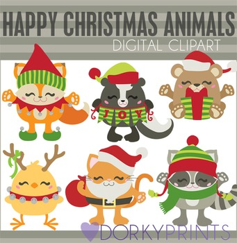 Happy Christmas Animals Digital Clip Art