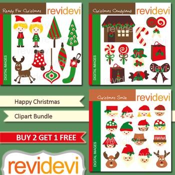 Happy Christmas Clip art (3 packs) kids, candy shop, tree