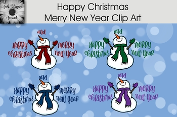 happy christmas merry new year clip art by just clippin around tpt