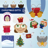 Happy Christmas gifts packet clip art