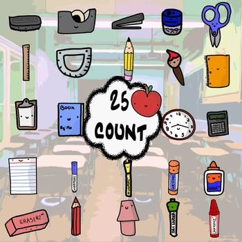 Happy Classroom Supplies Clip Art