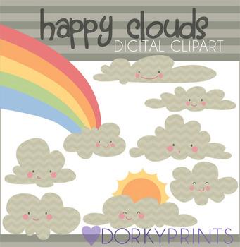 Happy Clouds Digital Clip Art