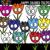 Happy Colored Tulips Clipart {Scrappin Doodles Clip Art}
